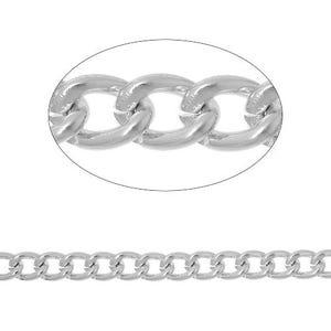 Anodised Aluminium Silver Tone Curb Chain 8mm x 10mm Open Link 2m Length CH1530