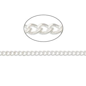 Iron Alloy Silver Curb Chain 2.2mm x 2.8mm Open Link 10m Length CH1930
