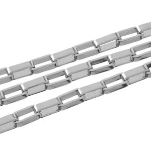304 Stainless Steel Silver Tone Box Chain 2.4mm x 5mm Open Link 2m Length CH2065