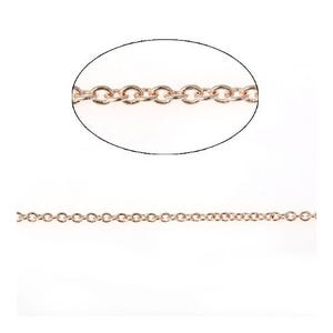 Copper Rose Gold Cable Chain 1.5mm Open Link 5m Length CH2130