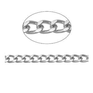 Aluminium Silver Tone Curb Chain 7mm x 10mm Open Link 2m Length CH2565