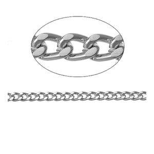 Aluminium Silver Tone Curb Chain 3mm x 5mm Open Link 5m Length CH2765