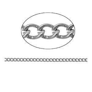 Iron Alloy Silver Tone Curb Chain 3mm x 4mm Open Link 10m Length CH2845
