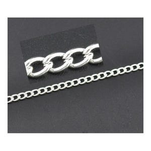 Metal Alloy Silver Curb Chain 3.5mm x 5mm Open Link 10m Length CH2970