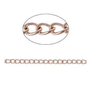 Brass Rose Gold Curb Chain 3mm x 4mm Open Link 5m Length CH2985