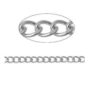 Aluminium Silver Tone Curb Chain 7mm x 9mm Open Link 2m Length CH3045