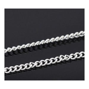 Iron Alloy Silver Curb Chain 2mm x 2.5mm Open Link 10m Length CH3095