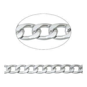 Aluminium Silver Tone Beveled Curb Chain 9 x 13mm Open Link 2m Length CH3200