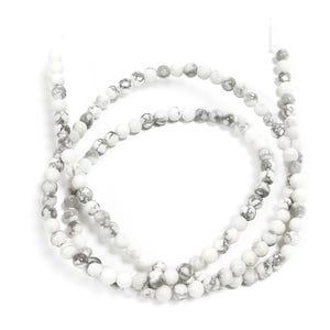 White/Grey Howlite Grade A Plain Round Beads 3mm Strand Of 120+ Pieces D01155