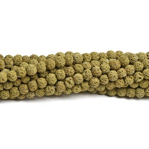 Dull Yellow Dyed Lava Rock Grade A Plain Round Beads 6mm Strand Of 60+ Pieces D01230