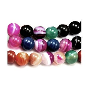 Mixed-Colour Banded Agate Grade A Plain Round Beads 8mm Strand Of 45+ Pieces D01320