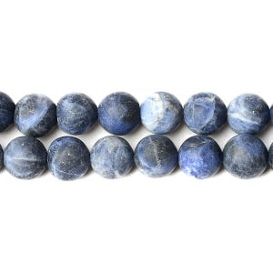 Blue Frosted Sodalite Grade A Plain Round Beads 10mm Strand Of 35+ Pieces D01335