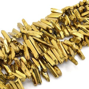 Gold Spray Painted Rock Crystal Grade A Stick Beads 15mm-34mm Pack Of 10 D01340