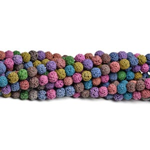 Mixed-Colour Dyed Lava Rock Grade A Plain Round Beads 8mm Strand Of 40+ Pieces D01425