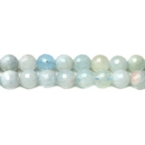 Pale Blue/White Aquamarine Grade A Faceted Round Beads 8mm Strand Of 45+ Pieces D01445