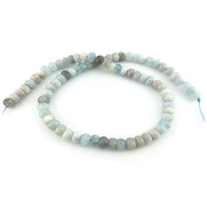 Pale Blue Aquamarine Grade A Faceted Rondelle Beads 5mm x 8mm Strand Of 80+ Pieces D01560