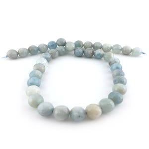 Pale Blue/White Aquamarine Grade A Faceted Round Beads 10mm Strand Of 38+ Pieces D01605