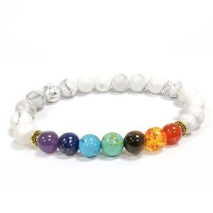 Mixed-Colour Howlite & Chakras One Size Round Bead Stretchy Bracelet  D01665