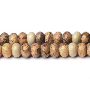 Brown/Beige Picture Jasper Grade A Plain Rondelle Beads 5mm x 8mm Strand Of 75+ Pieces D01725