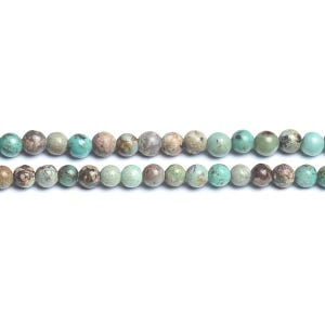 Turquoise/Brown African Jasper Grade A Plain Round Beads 3mm Strand Of 120+ Pieces D01780