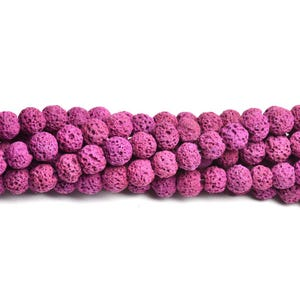 Fuchsia Dyed Lava Rock Grade A Plain Round Beads 6mm Strand Of 60+ Pieces D01900