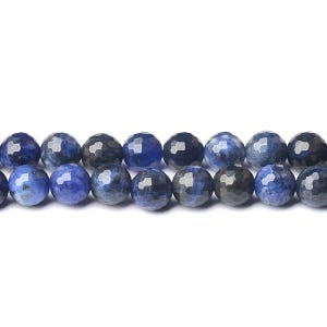 Blue Sodalite Grade A Faceted Round Beads 8mm Strand Of 40+ Pieces D01915