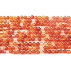 Orange/White Carnelian Grade A Plain Round Beads 2mm Strand Of 160+ Pieces D02000