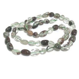 Clear/Green Lodolite Grade A Smooth Nugget Beads 5x6mm-7x11mm Strand Of 50+ Pieces D02055