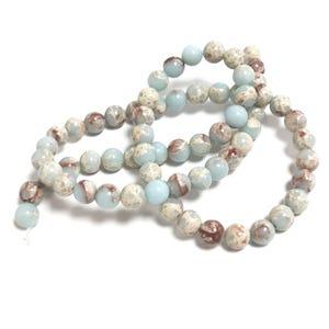 Pale Blue/Red Aqua Terra Jasper Grade A Plain Round Beads 6mm Strand Of 60+ Pieces D02070