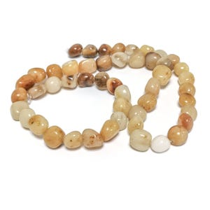 Yellow/Brown Honey Jade Grade A Smooth Nugget Beads 6x7mm-9x10mm Strand Of 45+ Pieces D02115
