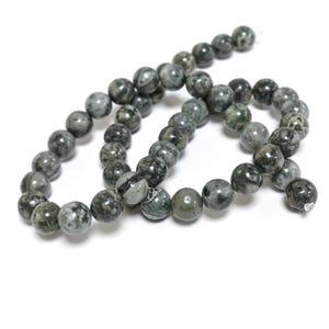 Grey/Green Brecciated Jasper Grade A Plain Round Beads 8mm Strand Of 45+ Pieces D02125