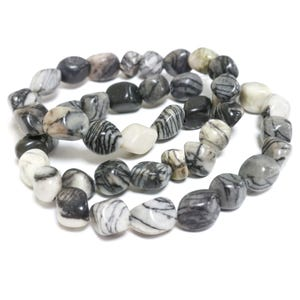Grey/Black Veined Jasper Grade A Smooth Nugget Beads 7x8mm-11x7mm Strand Of 45+ Pieces D02130