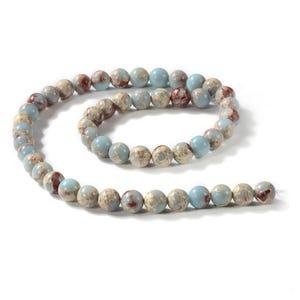 Pale Blue/Red Aqua Terra Jasper Grade A Plain Round Beads 8mm Strand Of 45+ Pieces D02140