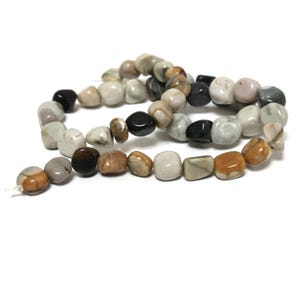 Grey/Brown Picasso Jasper Grade A Smooth Nugget Beads 8x8mm-11x10mm Strand Of 45+ Pieces D02155