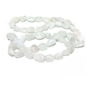 White Moonstone Grade A Smooth Nugget Beads 4x6mm-7x11mm Strand Of 45+ Pieces D02190