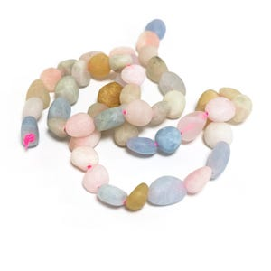 Mixed-Colour Frosted Beryl Grade A Smooth Nugget Beads 5x7mm-8x12mm Strand Of 45+ Pieces D02200