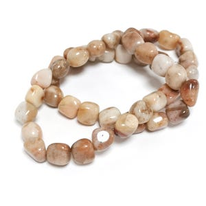 Beige Morocco Agate Grade A Smooth Nugget Beads 6x7mm-9x10mm Strand Of 42+ Pieces D02230