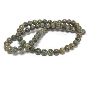 Green Brecciated Jasper Grade A Plain Round Beads 6mm Strand Of 60+ Pieces D02245