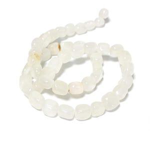 White Snow Quartz Grade A Smooth Nugget Beads 7x7mm-8x9mm Strand Of 45+ Pieces D02260