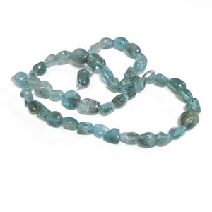 Teal Blue Apatite Grade A Smooth Nugget Beads 6x6mm-9x11mm Strand Of 45+ Pieces D02265