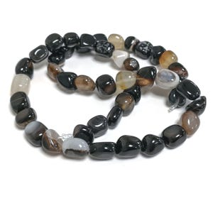 Black/Brown Banded Agate Grade A Smooth Nugget Beads 6x7mm-9x10mm Strand Of 45+ Pieces D02280