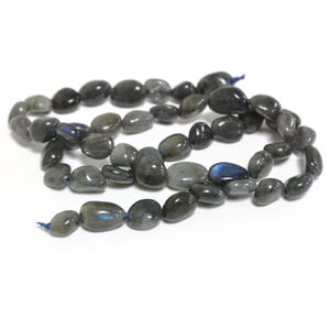 Dark Grey Labradorite Grade A Smooth Nugget Beads 5x7mm-8x12mm Strand Of 45+ Pieces D02290
