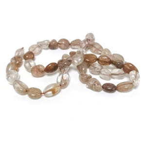 Brown/Clear Brookite In Quartz Grade A Smooth Nugget Beads 6x7mm-8x12mm Strand Of 45+ Pieces D02305