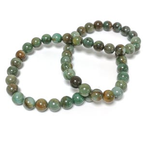 Green/Brown Prase Grade A Plain Round Beads 8mm Strand Of 45+ Pieces D02335