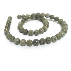 Green Brecciated Jasper Grade A Plain Round Beads 8mm Strand Of 45+ Pieces D02365