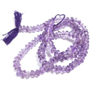 Lilac Cape Amethyst Grade A Plain Rondelle Beads Approx 3-5mm Strand Of 100+ Pieces DW1015