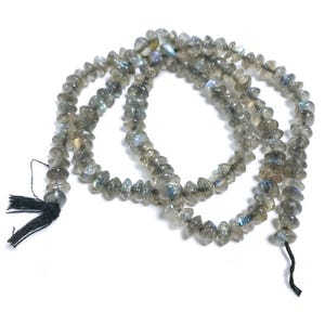 Grey Labradorite Grade A Plain Rondelle Beads Approx 3-5mm Strand Of 120+ Pieces DW1230