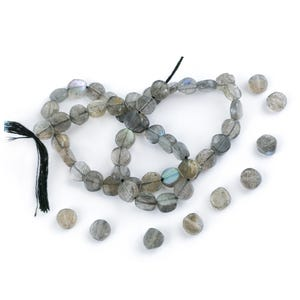 Grey Labradorite Grade A Plain Coin Beads Approx 6-7mm Strand Of 52+ Pieces DW1235