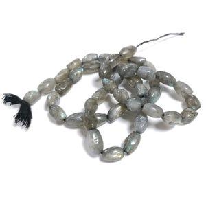 Grey Labradorite Grade A Plain Rice Beads Approx 6-8mm Strand Of 40+ Pieces DW1255