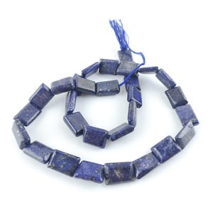 Blue Dyed Lapis Lazuli Grade A Rectangle Beads Approx 7x10mm-7x12mm Strand Of 32+ Pieces DW1265